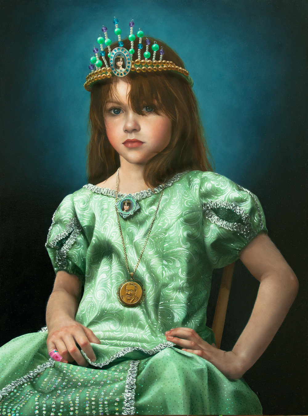 Portrait of Fair Young Fia as Licensed Royalty (2011)  Oil on panel  24 x 18 in
