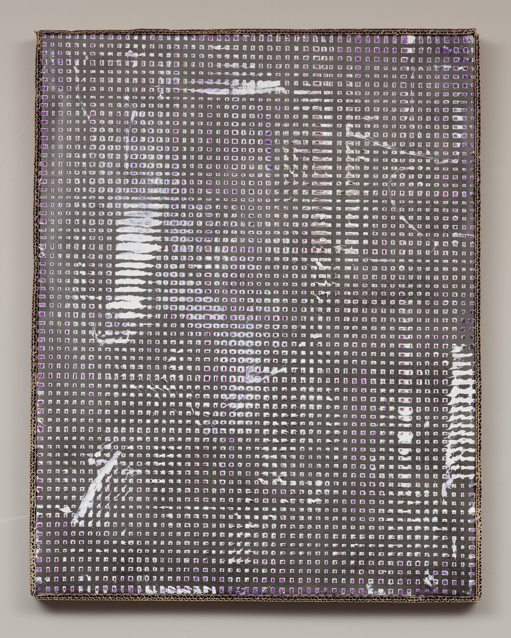"""""""Ich schaue nie zurück, es lenkt mich von der jetzt _Please Darling, you push to hard (But I accept)"""" (2012)  Oil and spray-paint on canvas. Artist made frame (cardboard)  25.6 x 19.7 in"""
