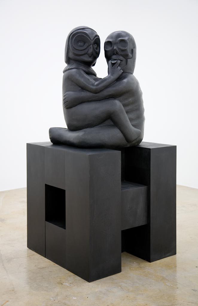 """""""A Very Touching Moment (Cunning Linguist)"""" (2006)  Bronze, 2-part  60 x 30 x 30 in"""
