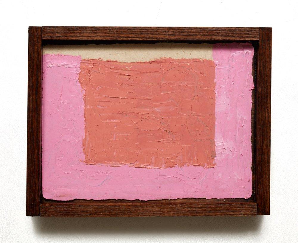 """""""1491-1963"""" (2018)  Oil on burlap paper in custom frame  11 x 14 in"""