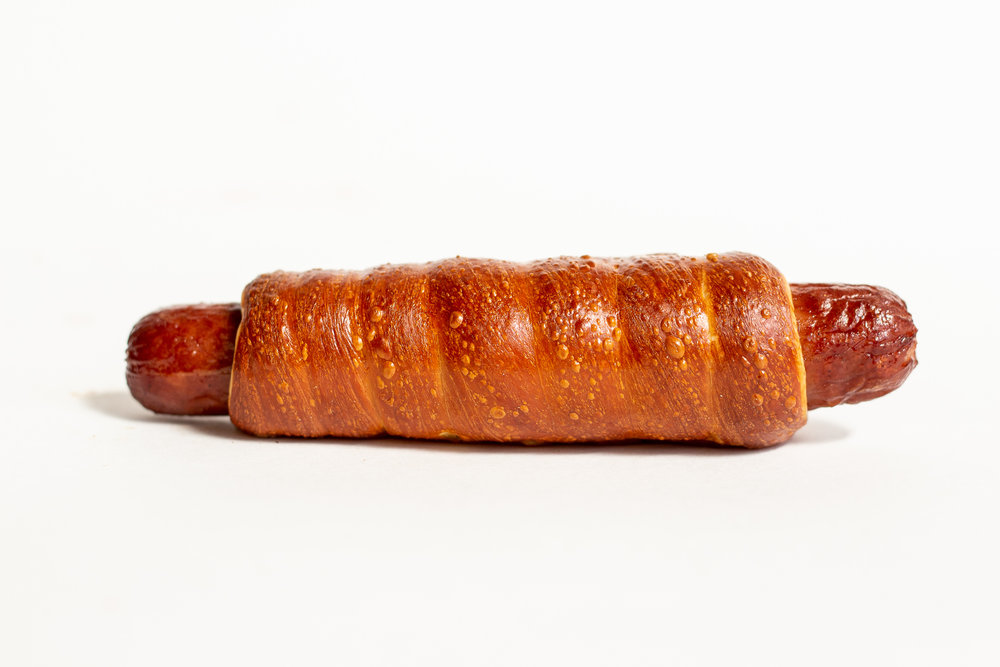 PRETZEL DOG - 100% all beef hot dog wrapped in pretzel dough. no bs, just awesome.