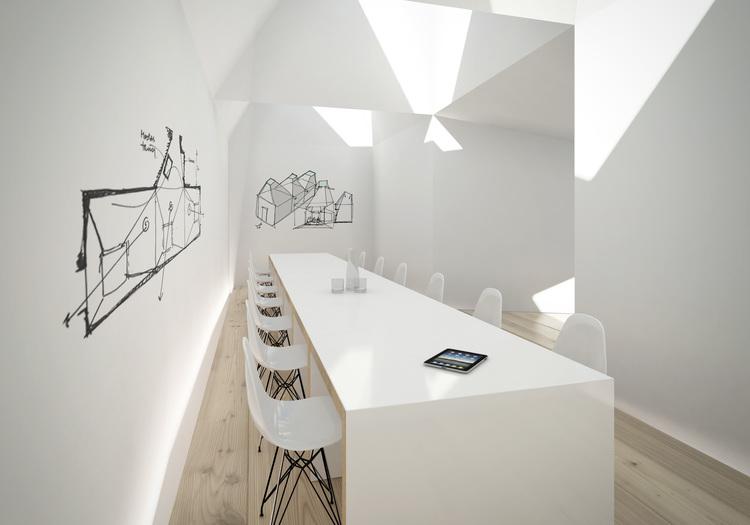 Modern Contemporary Fletcher Crane Architect Hotel Indigo Conference Kensington London Skylight Table