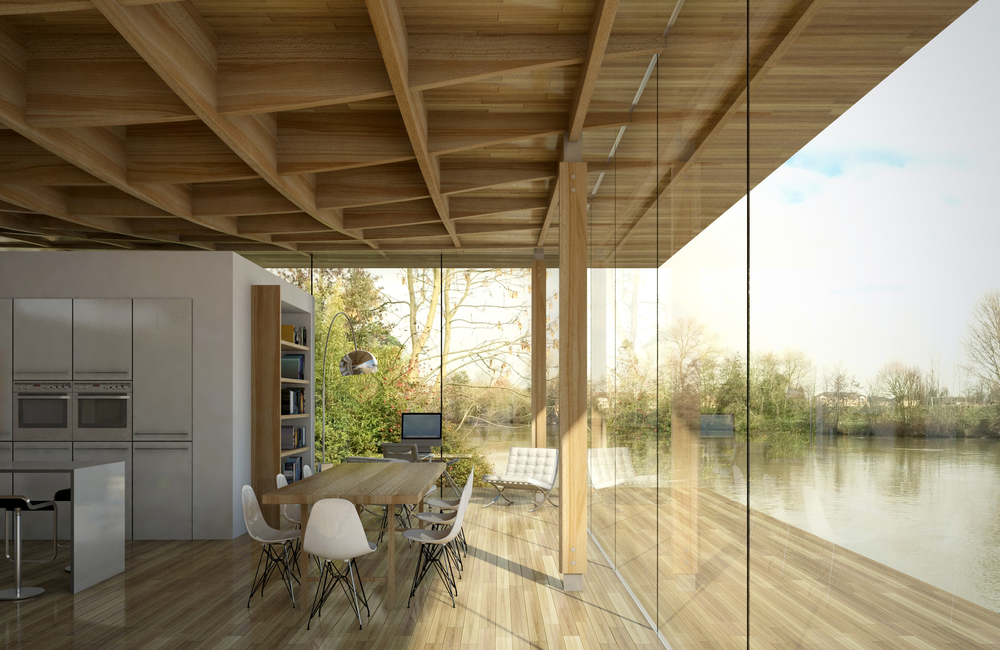 Modern Contemporary Architect River Thames Island London Surrey Exposed Ceiling