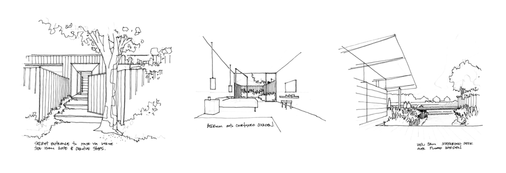 Modern Contemporary Architect River Thames Island London Surrey Concept Sketches Internal Fitout