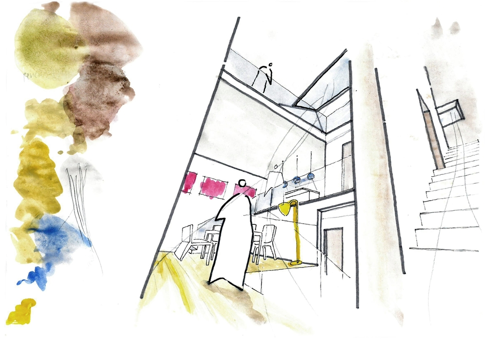 Modern Contemporary Architect Mew House Hyde Park London sketch Watercolour