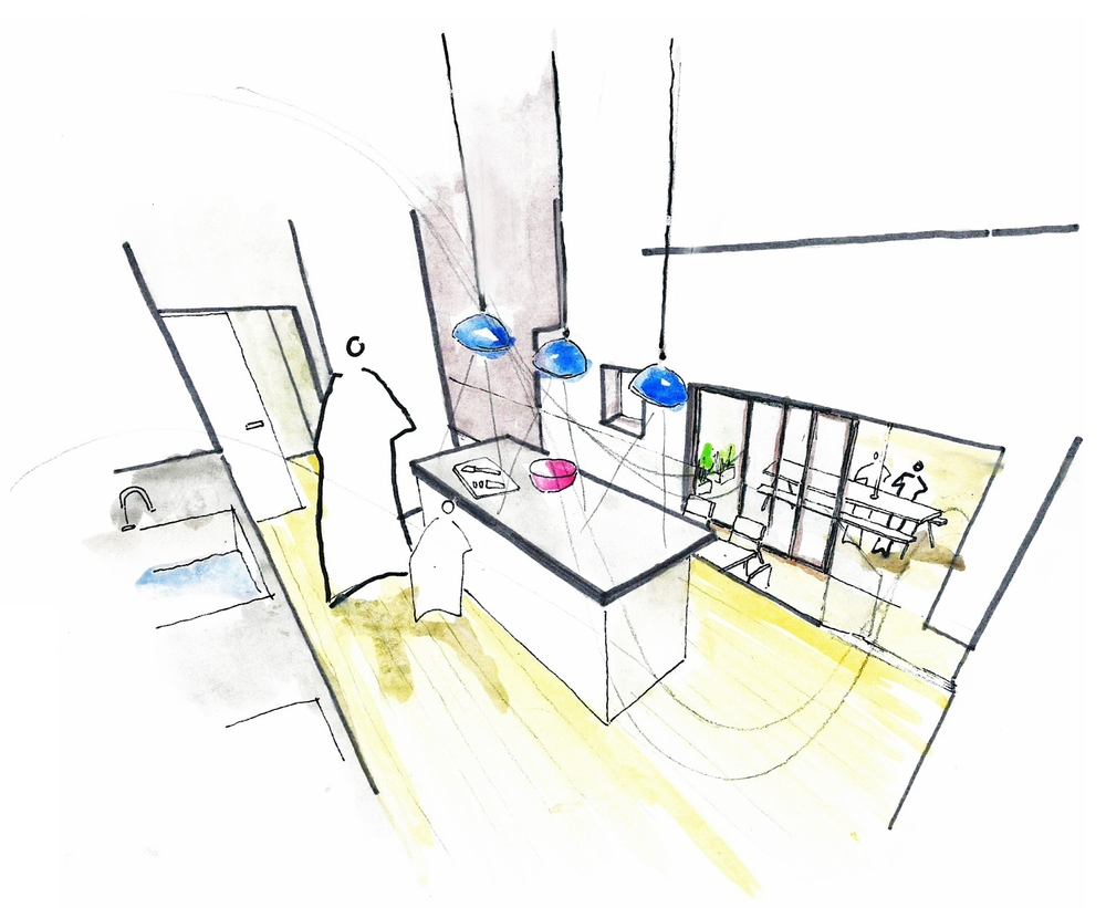 Modern Contemporary Architect Mew House Hyde Park London watercolour Sketch