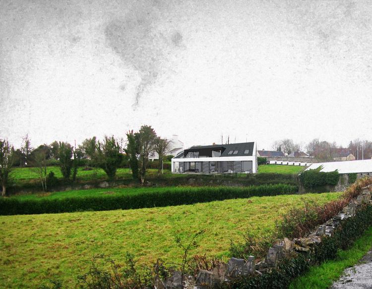 Modern Contemporary Architect House Shannon Ireland White Render Zinc Slate Refurbishment Barn