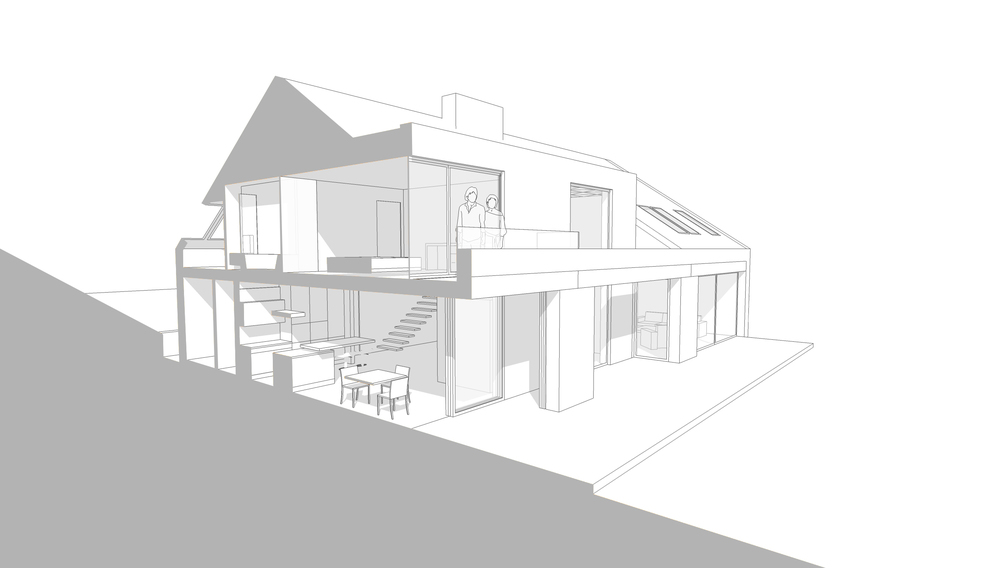 Modern Contemporary Architect House Shannon Ireland Sectional Perspective