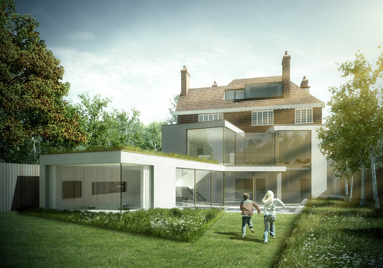 Modern Contemporary Architect House Putney Fulham London White Brick Green Roof