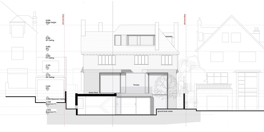 Modern Contemporary Architect House Putney Fulham London Elevation Green Roof White Render Box