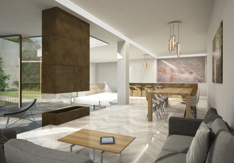 Modern Contemporary Architect House Putney Fulham London Floating Fireplace Marble Big Kitchen