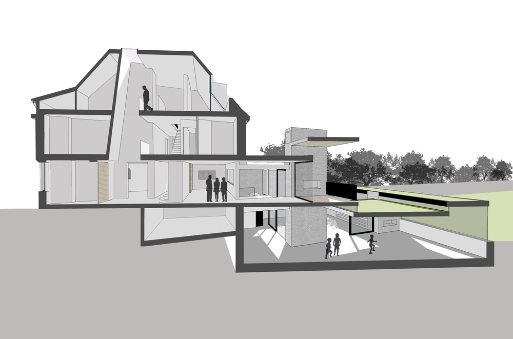 Modern Contemporary Architect House Putney Fulham London Sectional Perspective Split Level