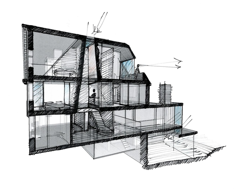 Modern Contemporary Architect House Putney Fulham London Sketch Section