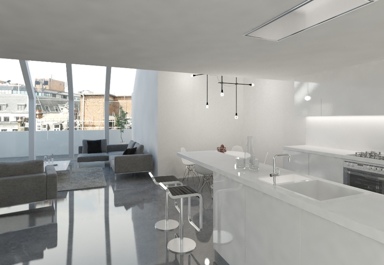Modern Contemporary Fletcher Crane Architect Housing Residential Soho London Apartment Conversion Concrete floor