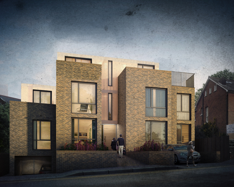 Modern Contemporary Fletcher Crane Architect Housing Residential Epsom Surrey Brick Linit Glass