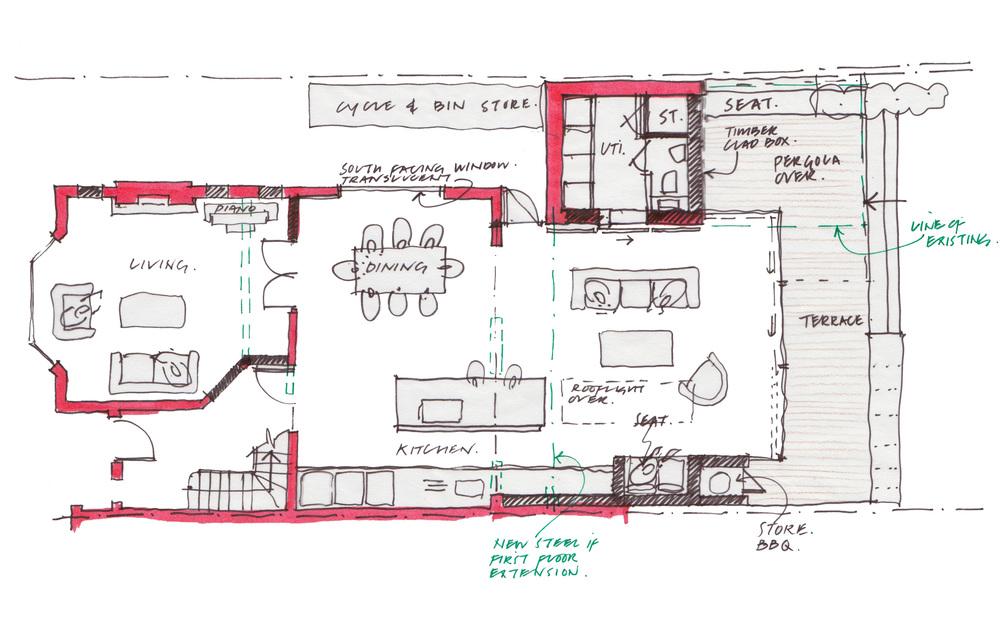 Modern Contemporary Fletcher Crane Architect Extension Hampton Court Surrey Sketch Concept Plan