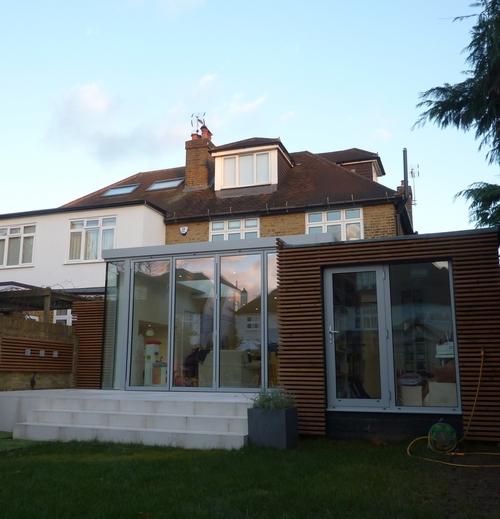 Modern Contemporary Fletcher Crane Architect Extension Hampton Court Surrey Corner Glass Wood Cladding