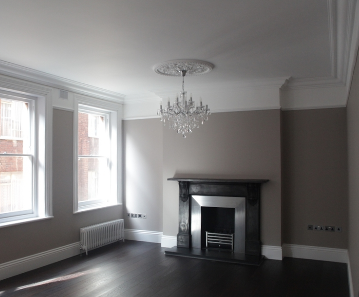 Modern Contemporary Fletcher Crane Architect Apartment Westminster London Living Room Chandelier Skirting board Fireplace