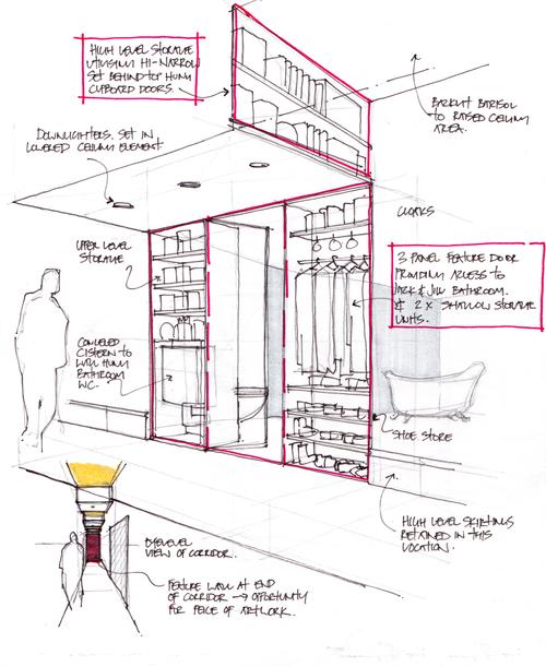 Modern Contemporary Fletcher Crane Architect Apartment Westminster London Concept Sketch