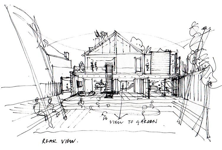 Modern Contemporary Fletcher Crane Architect House Extension Twickenham Surrey London Concept sketch