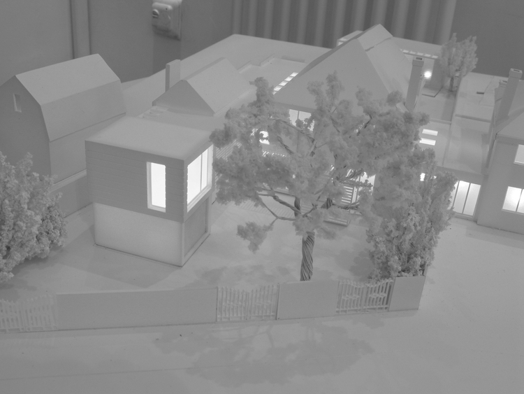 Modern Contemporary Fletcher Crane Architect House Extension Twickenham Surrey London Night Model Glowing