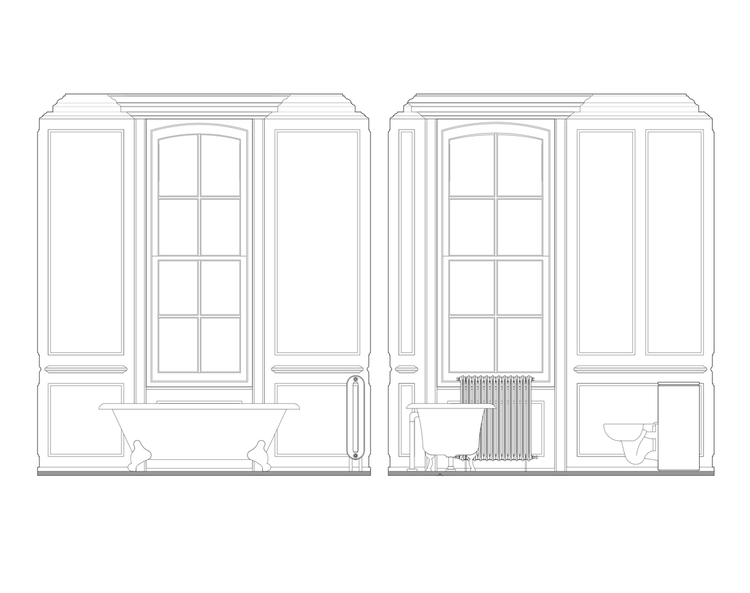 Modern Contemporary Fletcher Crane Architect Historic Apartments Greenwich London Drawing Bathroom Big