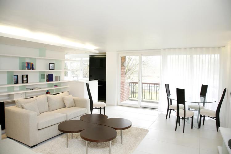 Modern Contemporary Fletcher Crane Architect Apartment Teddington London Surrey Living River Views