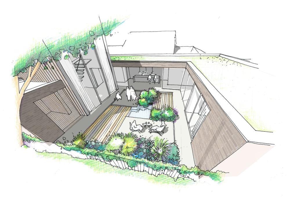 fletcher crane architects, model , house kingston, surrey , modern contemporary architecture, timber, brick, sketch, courtyard