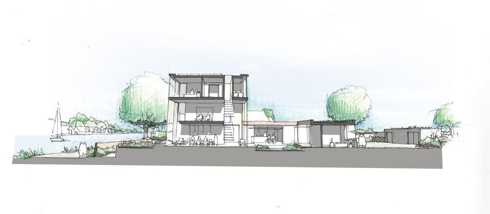 fletcher crane architects, model , house kingston, surrey , modern contemporary architecture, timber, brick, section