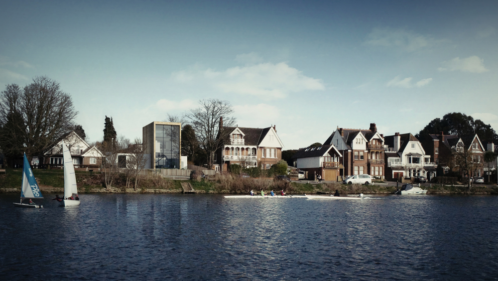 fletcher crane architects, model , house kingston, surrey , modern contemporary architecture, timber, brick, river views