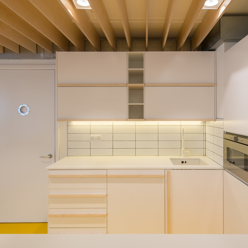 fletcher crane architects, plywood, kitchen, commercial, london office, modern contemporary