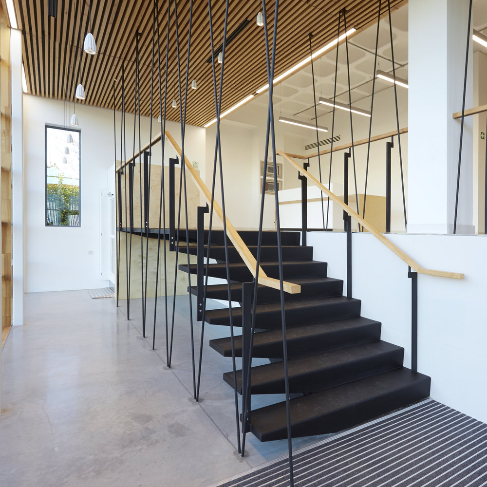 Modern Contemporary Architect Office Commercial Fitout Business Park Leatherhead Surrey London tension rod staircase timber cladding