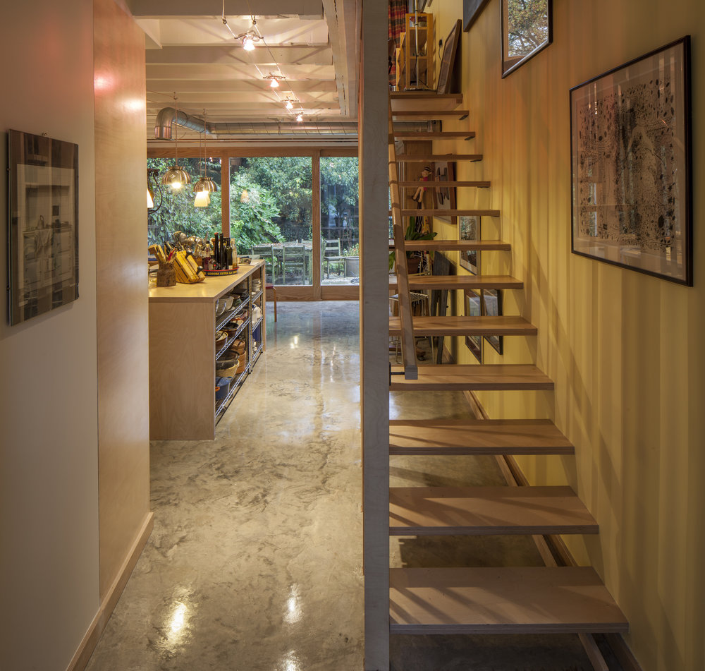 Fletcher Crane Architects, House, Extension, Teddington, Plywood, Polished Concrete, plywood staircase, span house