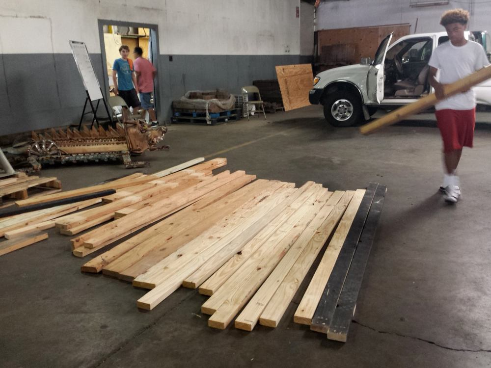 Taking stock of our salvaged lumber from Museum of the Mississippi Delta. Thanks Gordon M. Ditto for the salvage and donation!