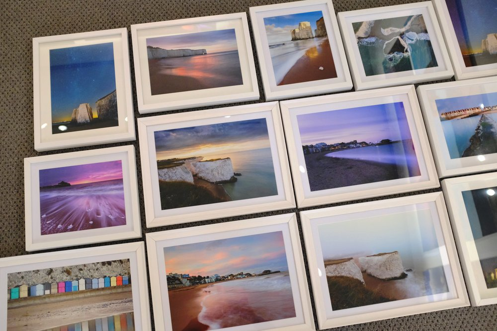 Fresh from the lab and now on sale….our white wooden framed pictures from across Broadstairs, Margate, Ramsgate.