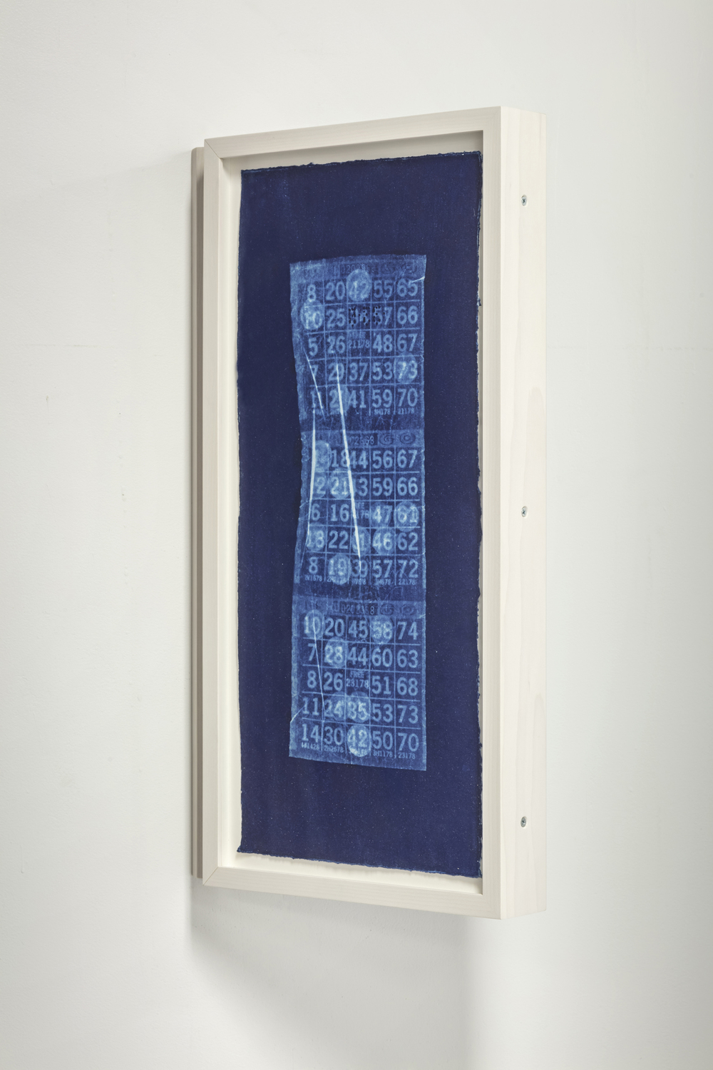 "Lili Huston-Herterich  At Dusk Wet Ink Follows The Man / At Dusk Dry Men Follow The Moons , 2015 Cyanotype diptych, 7.25"" x 16"" (print size) Signed edition of 10 diptych $675 framed plus HST"