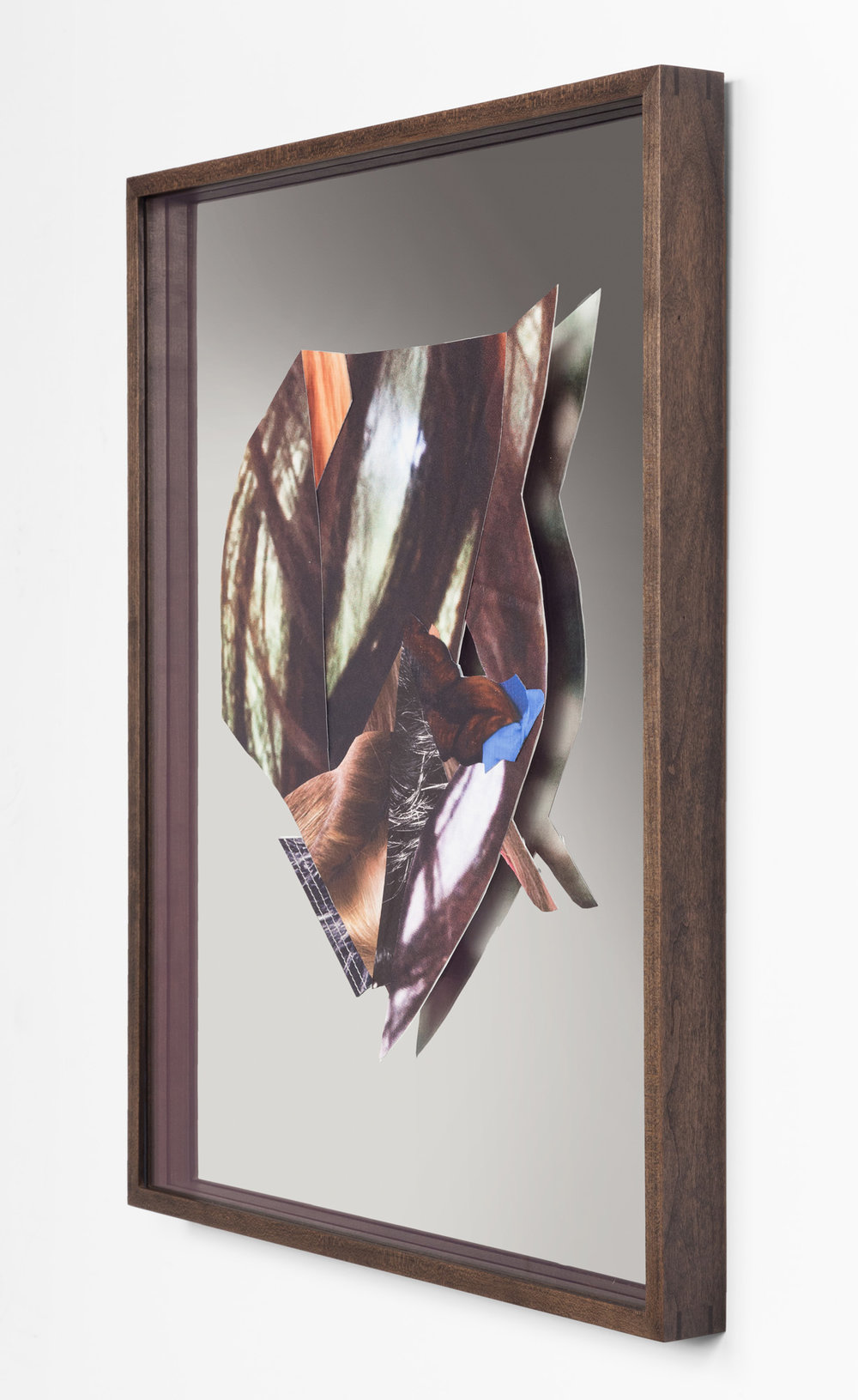 "Kelly Jazvac  Portrait of a Landscape , 2016 Salvaged billboards, adhesive, mirror, custom frame, 24"" x 19"" x 2"" Series of 6 works"