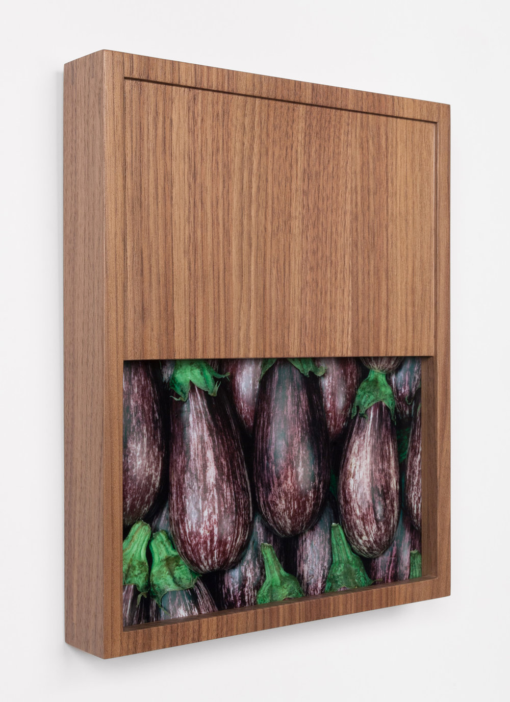 "Alex Kisilevich  Eggplants , 2016 C-print mounted to stonehenge gator, modified wooden frame, 13"" x 10.75"" x 2"" Signed edition of 5 + AP"