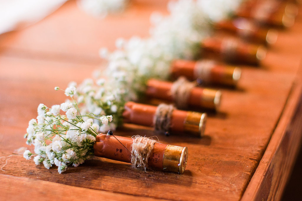 Shotgun shell boutonniere rustic shabby chic wedding fayetteville ar wedding photographer