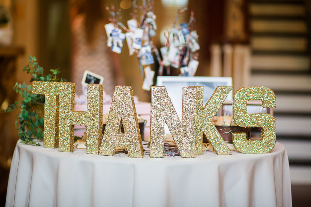 thank you guest book table gold glitter letters fayetteville ar wedding photographer