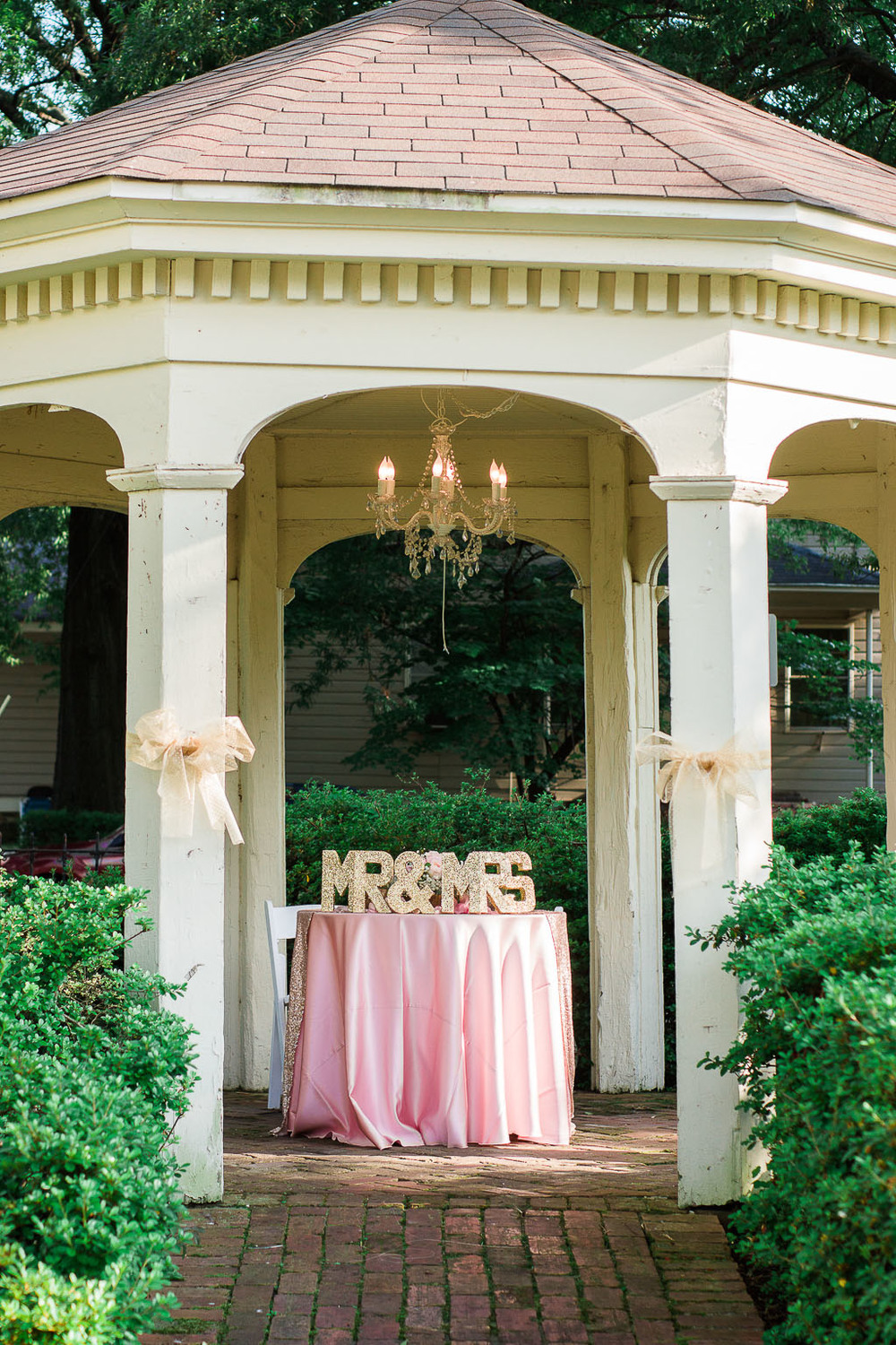 Bride and Groom Table - Pink and Gold Sequins fayetteville-ar-wedding-photographer