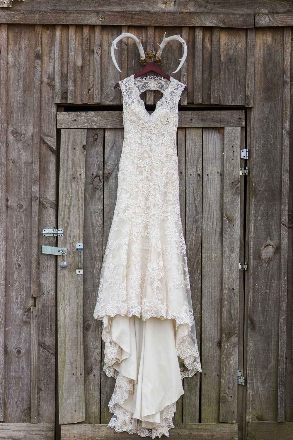 Rustic Shabby chic lace gown with a sweetheart neckline barn wedding