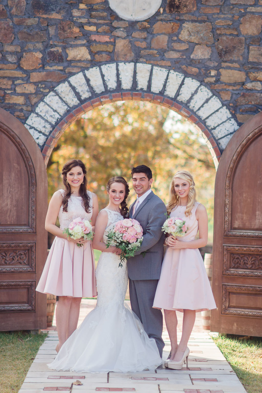Sassafras springs vineyard ruined chapel wedding blush pink bridesmaid dresses grey tux fayetteville ar wedding photographer