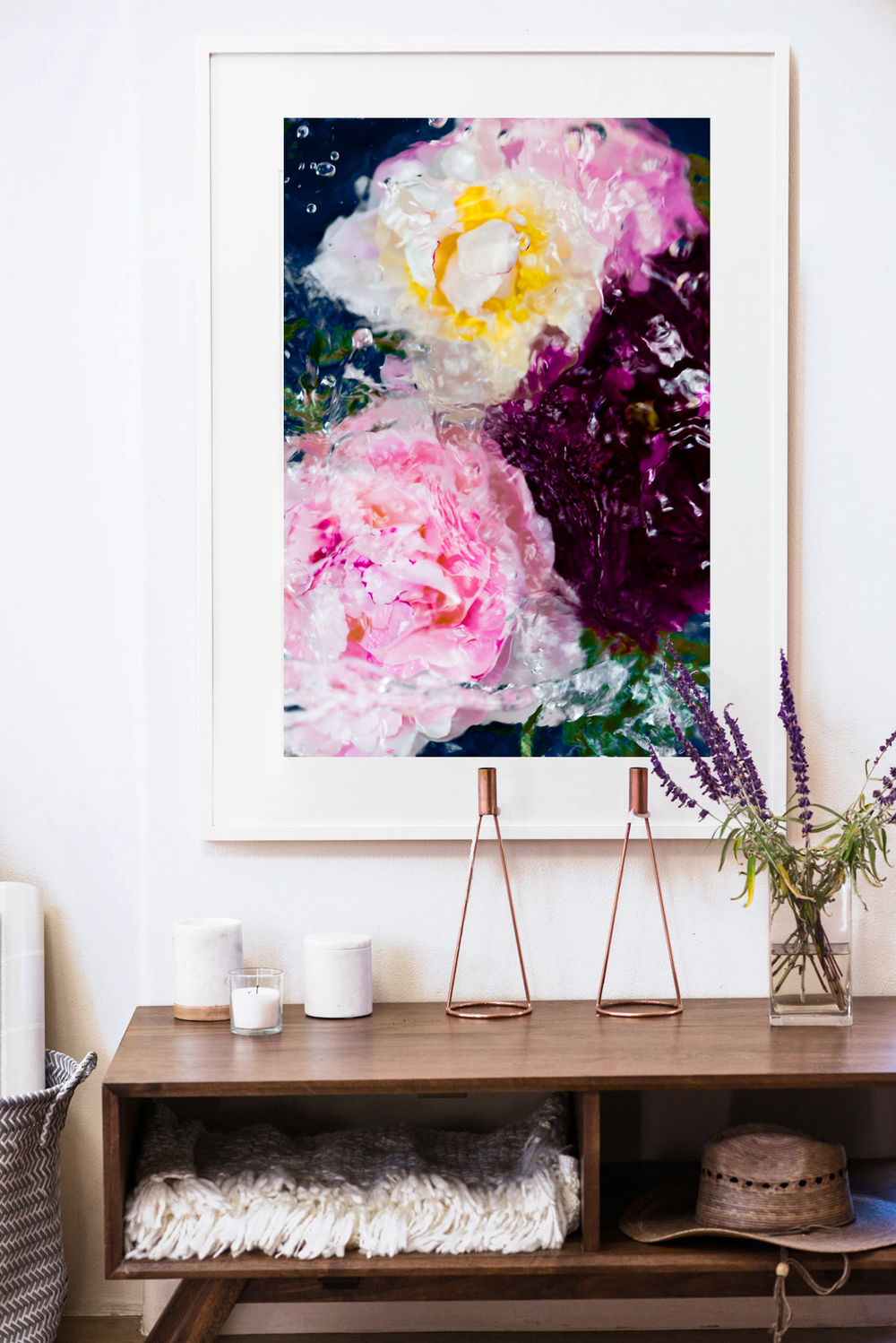 Large framed abstract art print by Jessica Kenyon Studio