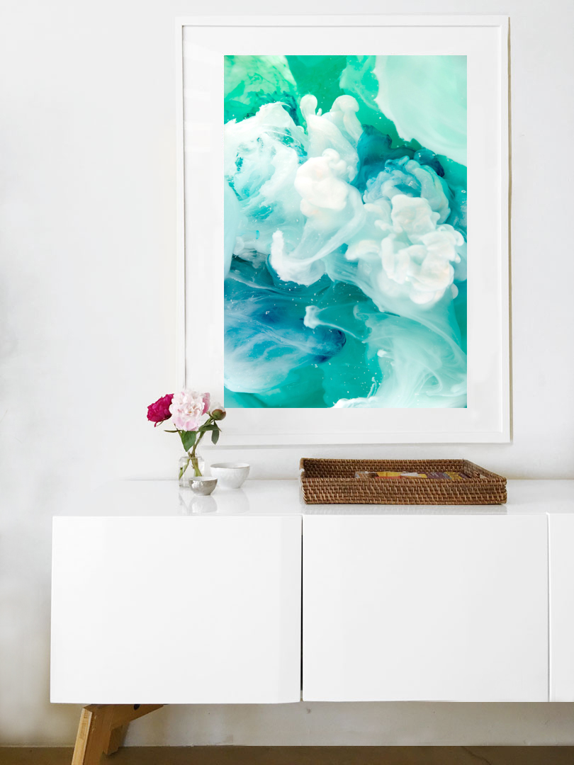 Framed Art over white credenza by Jessica Kenyon Studio