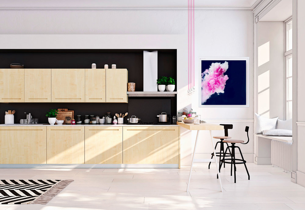 Modern nordic kitchen in loft apartment featuring Jessica Kenyon's ink art.