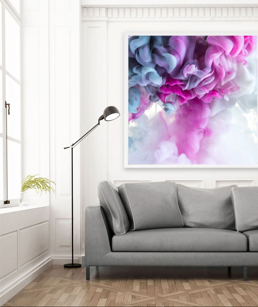 Huge square giclee print by Jessica Kenyon Studio. Oversized pink and gray art.