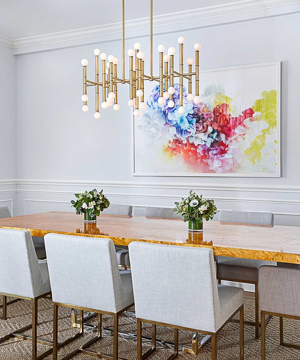 Jessica Kenyon abstract art in dining room designed by Christina Croll Interiors. Photograph by Emily Gilbert.