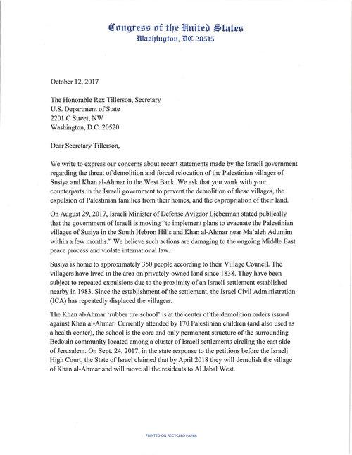 Congressional intervention rebuilding alliance letter to secretary tillerson on susiya and khan al ahmar 101217g spiritdancerdesigns Gallery