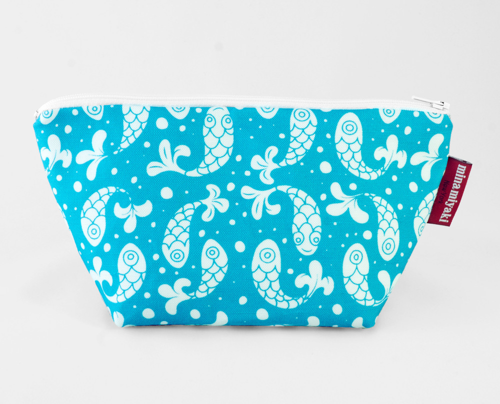 Bubble Fish Trapeze Pouch in Blue $25